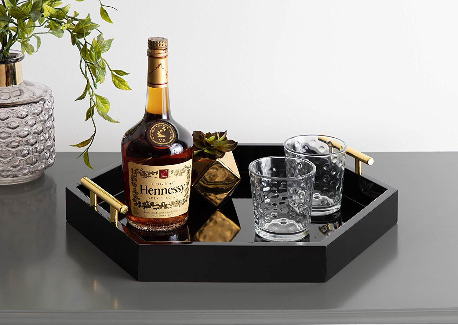 Modern Wood Hexagonal Serving Tray with metal Handles and Coated Finished Black