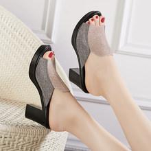 Женские шлепанцы на каблуке 8 см GKTINOO, летние сандалии, модная обувь, 2020(Китай)