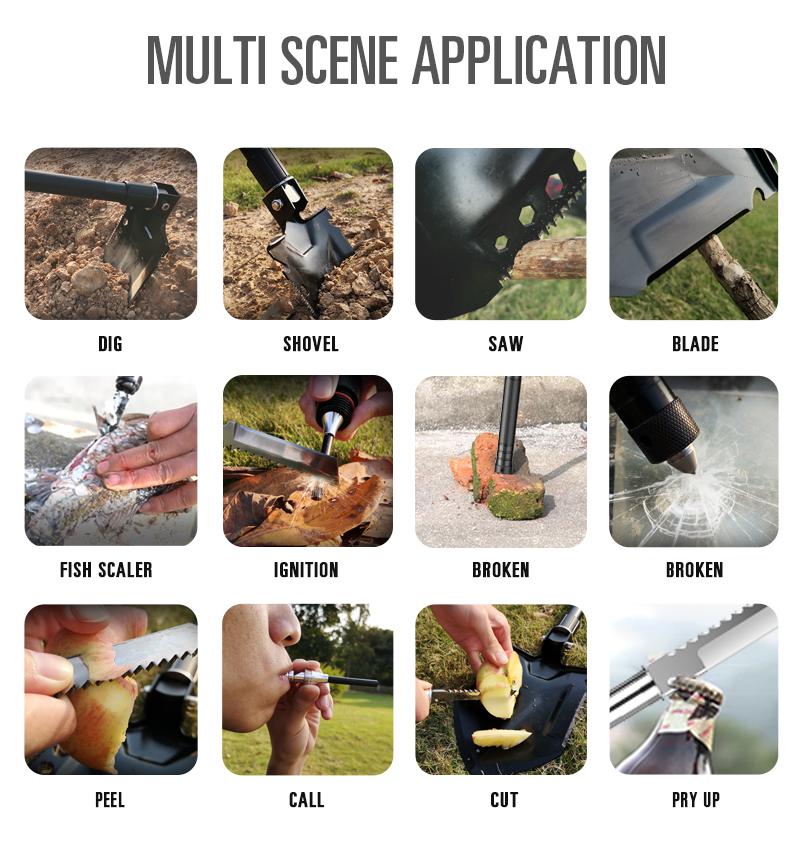 Heavy Duty Compact Multitool Survival Camping Shovel Multifunction Shovel