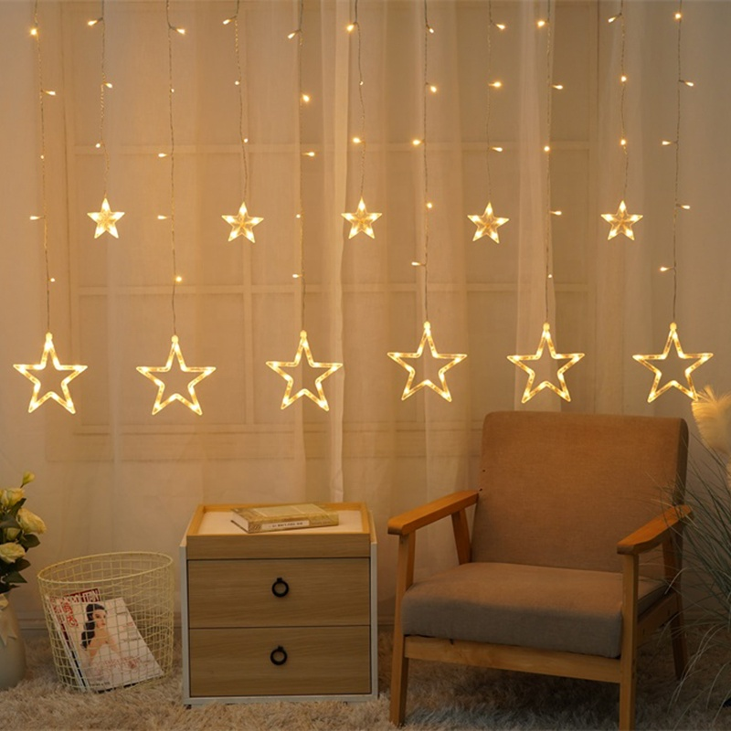 138 LED christmas star string window curtain lights for outdoor home party