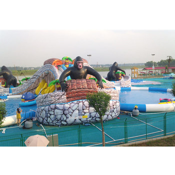EN71 ROSH UL SGS EN14960 Guaranteed corporate events inflatable water slide with swimming pool