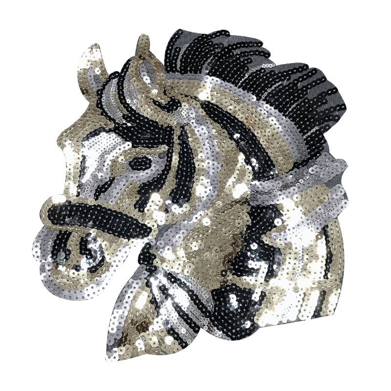 GUGUTREE ricamo Paillettes grande cavallo di patch del fumetto di patch badge applique patch per abbigliamento RST-50