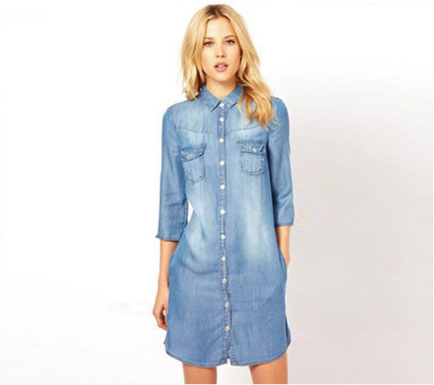 New fashion denim dress nine-quarter sleeve long washed denim dress in stock