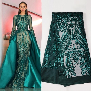 nigerian sequence clothes sequin embroidery green sequin fabric tulle lace fabric for dress