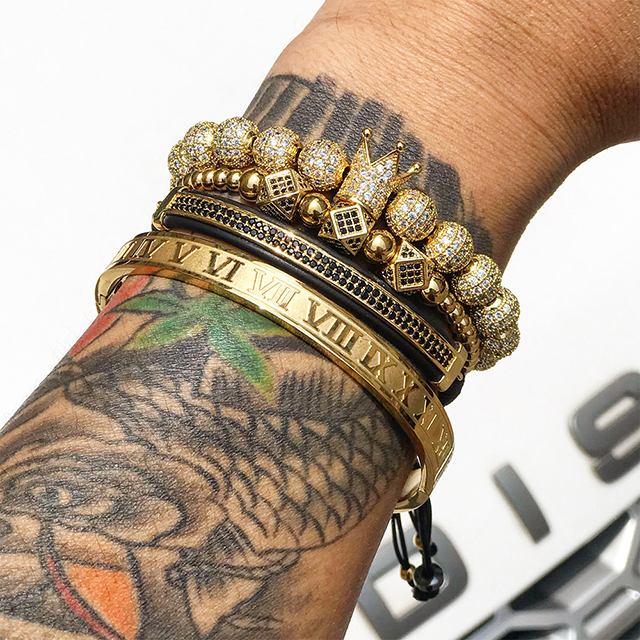 Bracelet Men Luxury Gold Anium Steel