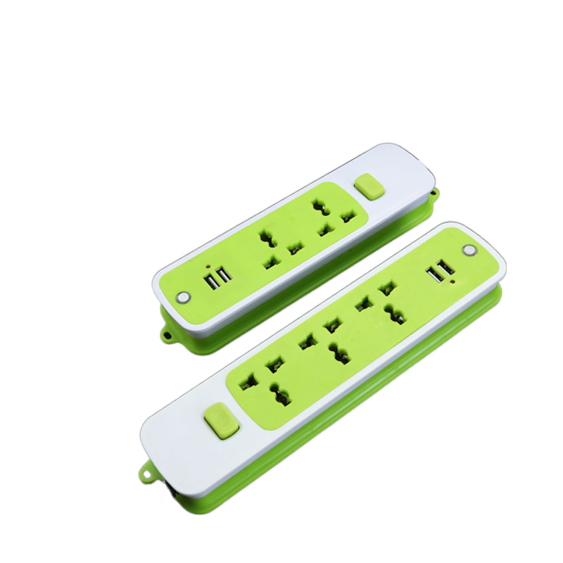 newest safety shutter universal surge protection electric power strip socket 3 plug-in bits with 2USB
