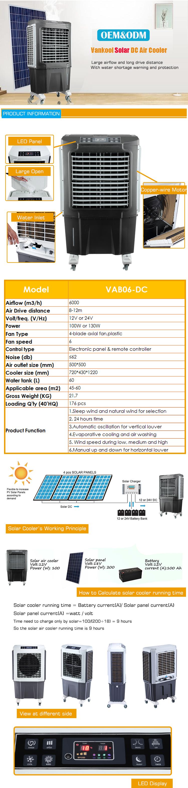 CC a bassa tensione commerciale solar powered campeggio di ghiaccio dispositivo di raffreddamento di raffreddamento di aria