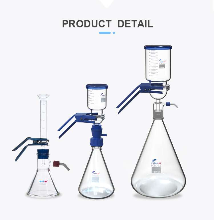 AKMLAB Laboratory Glass Funnel Vacuum Filter Solvent Filtration Apparatus