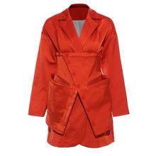 Женский ассиметричный Блейзер EAM, оранжевая/красная куртка с длинным рукавом, 1T66015, 2020(Китай)