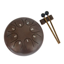 Steel Tongue Drum  8 Notes 6 inches  Percussion Instrument with Pouch, Book, Mallets, Finger Picks