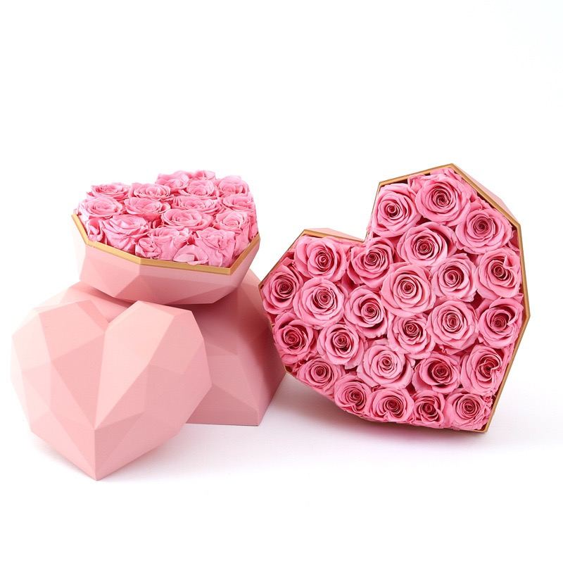 DIY flower box gift box 4-5cm Sakura pink  preserved rose heads