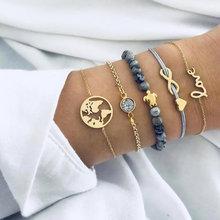 Женский браслет с круглым узлом, богемный браслет на запястье с золотыми цепочками, простой геометрической формы, 4 шт./компл.(Китай)