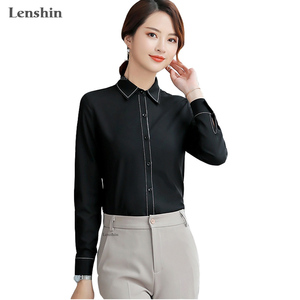 Fashion women clothes Elegant long sleeve shirt autumn black slim blouse office ladies business Loose style formal tops