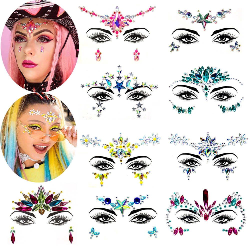 B953 Temporäre Strass Glitter Aufkleber Edelsteine Festival Party Make-Up Lidschatten Körper-Gesicht Schmuck Tattoos