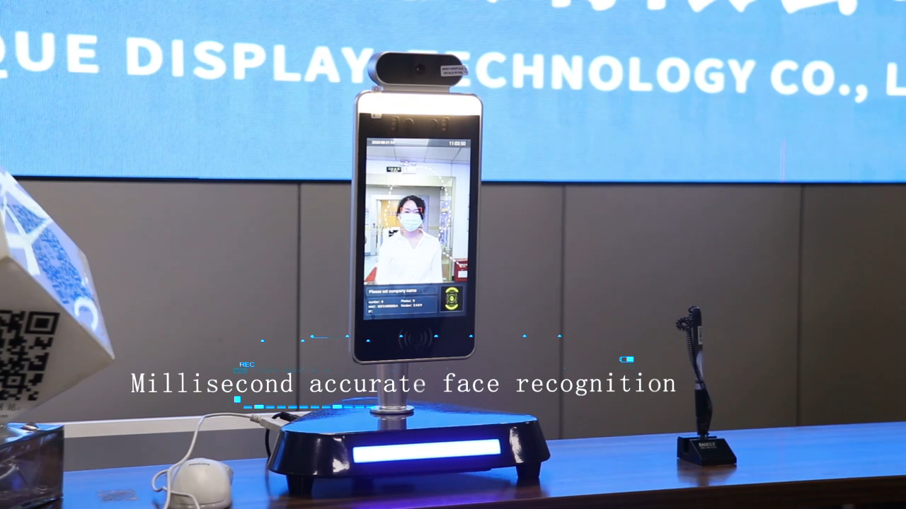 Body temperature scanner face recognition biometric time attendance thermometer