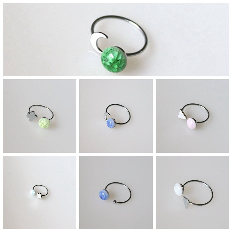 Popular Custom Made Environmental Protection Gem Stainless Steel Ring Ceramic Lovers Ring for Women