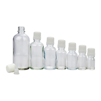 10ml 20ml 15ml 30ml clear glass bottle with screw lid and stopper