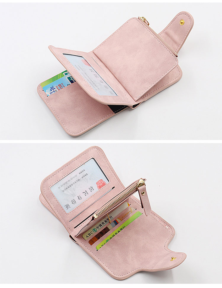 short Two-tone fabric Zipper buckle card wallets leather woman ladies purse wallet women