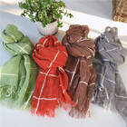 suzhou factory wholesale linen cotton scarf with short fringe autumn women men solid color shawl