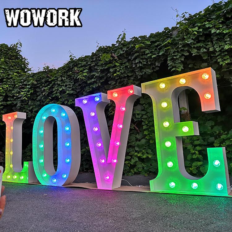 WOWORK hohe qualität elektronische zeichen 3D led außen leuchten buchstaben liebe für hochzeit dekoration