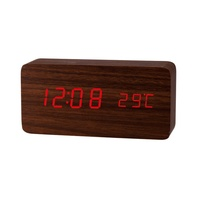 wooden (MDF) table eco-friendly digital clock with temperature