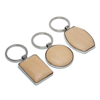 Promotion Round Shape Zinc Alloy Metal Wooden Key Fob Key Ring Chain Holder DIY Customized Logo Favors Gifts Wood Key Organizer