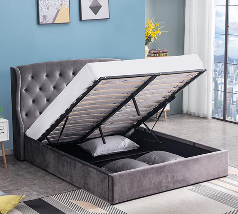 Platzsparende luxus samt lagerung bett für schlafzimmer möbel