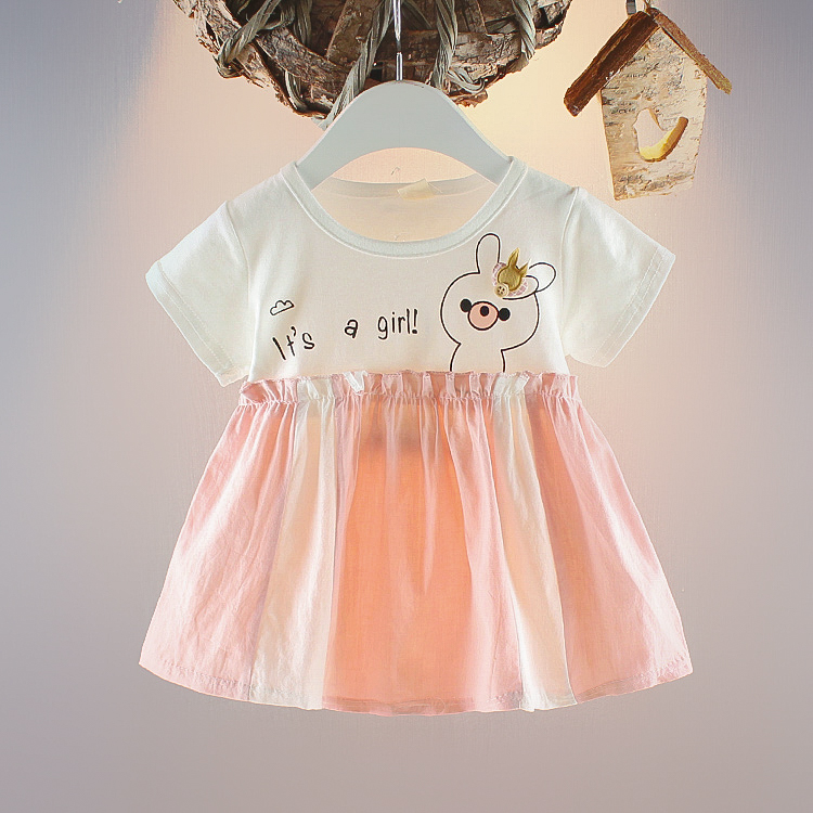 2020 Amazon hot selling lovely rabbit pattern kids clothing <strong>baby</strong> girls <strong>cotton</strong> comfortable cute <strong>baby</strong> girls <strong>frock</strong>