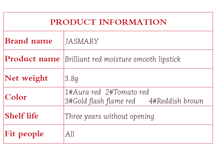 New 2020 High Pigment Abundance Wholesale Price Brilliant Red Moisture Smooth Lipstick