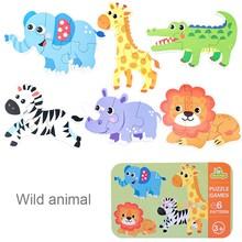 Детская головоломка, головоломка, Мультяшные животные, слон, Лев, Деревянные Монтессори, игрушки, обучающая головоломка, игровая коробка, иг...(Китай)