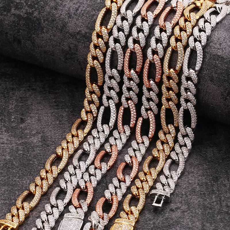 product-14K Gold Chain 10mm Full Pave NK3:1 Figaro Cuban Chain Bracelet Hip Hop-BEYALY-img