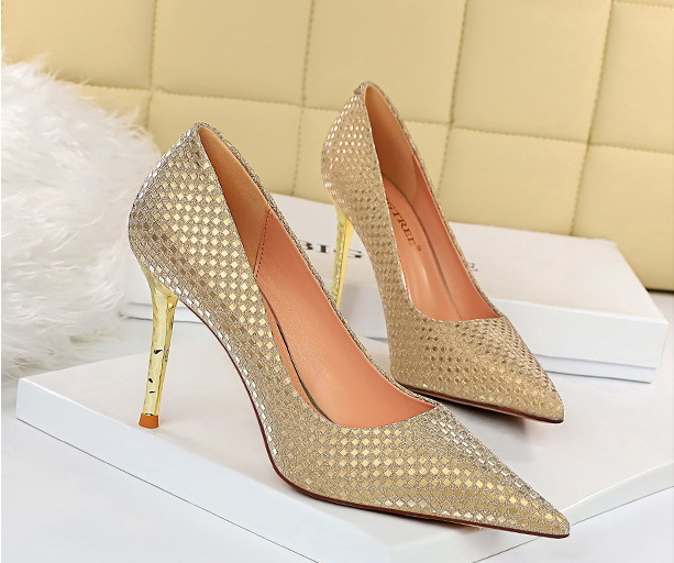 High quality wholesale price Sequined cloth upper 9.5 cm high heel shoes women high-heel shoe