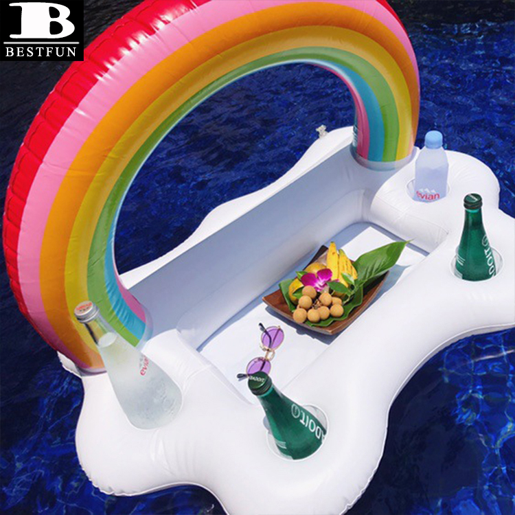 heavy duty vinyl inflatable cooler bucket rainbow cloud serving bar pool float swimming beer cup holder tray table toys