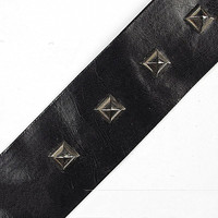 New Arrivals Black PU Metal Pyramids Studded Faux Leather Trims Ribbon for Skirts Jackets