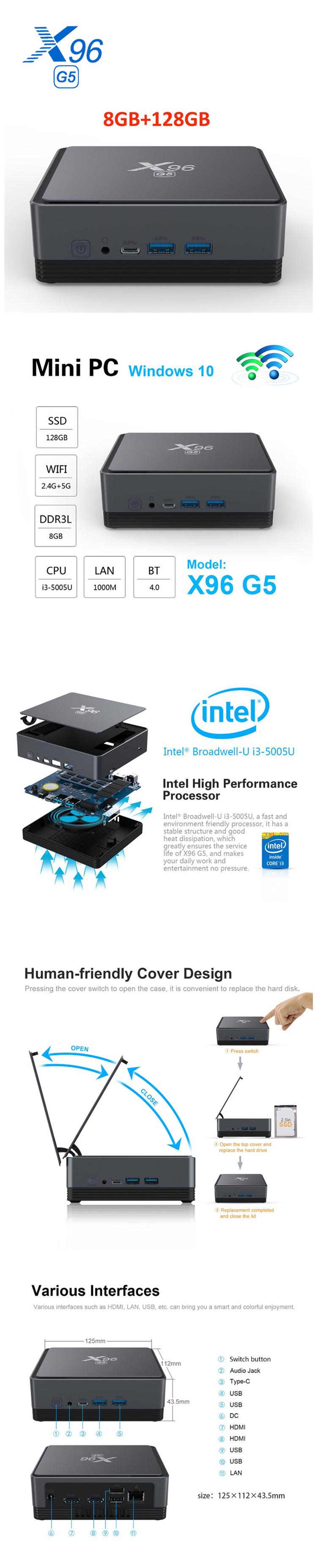X96 G5 Cheapest Factory Price Mini PC board OEM Z83V 2G/32G USB 3.0 VGA Port Vesa Mount Desktop Mini PC