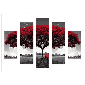 5 pieces of high-definition printed red trees canvas art painting home decoration painting 5d diamond painting printing poster