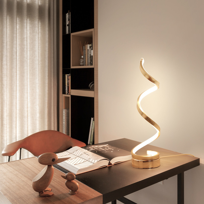 Personality Art Creative <strong>Spiral</strong> Shape Bedside Table <strong>Lamps</strong> Luxury Modern Home Decor LED Light for Home