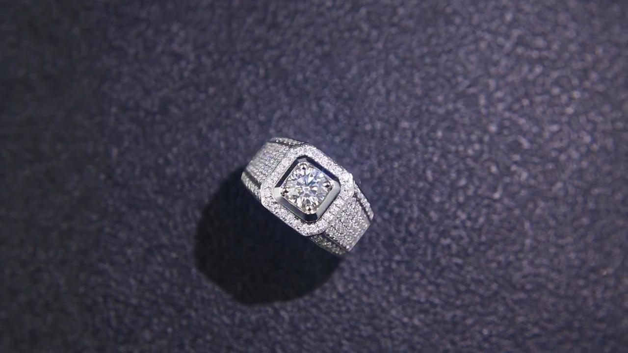 Latest Design 925 Silver Men Ring Luxury Moissanite Diamond Engagement Ring