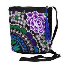 Женский кошелек с вышивкой, винтажный тонкий кошелек с этническим цветочным принтом, мини-сумка на молнии, кошелек, женские кошельки, держат...(Китай)