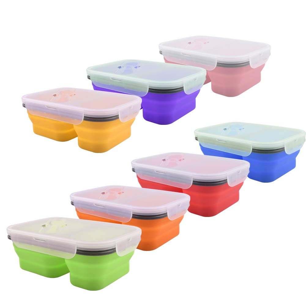 Eco-friendly colorful silicone folding lunch box with fork and spoon food grade folding silicone lunch box