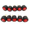 AUTOTOOLHOME 220V 250V RED LED Dot Light Car Toggle Button Switch ON/OFF SPST 3 Pins Boat Round Rocker switch