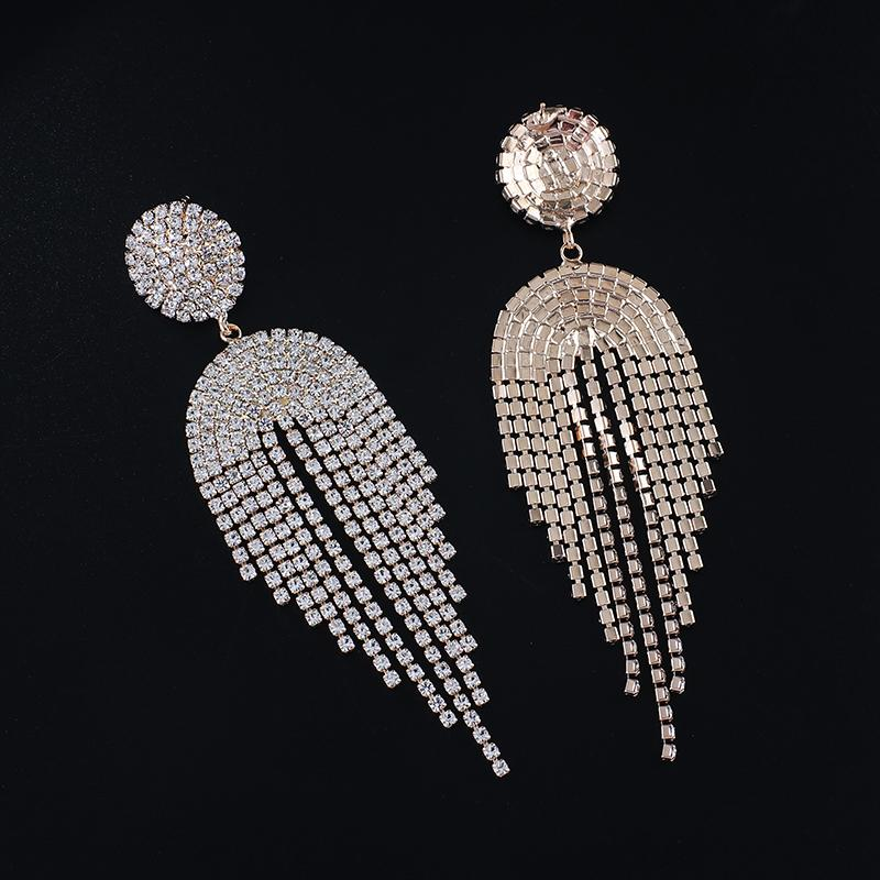 New Korean Luxury High-end Rhinestone round tassel Pendant Earrings Elegant for Women Fashion Earrings Jewelry Gifts