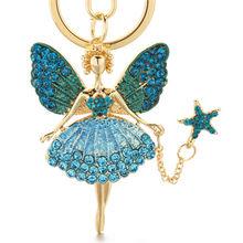 Ангел брелок для девушек горный хрусталь кристалл брелок для ключей держатель подвесные аксессуары для сумок милый женский эмалевый брело...(Китай)