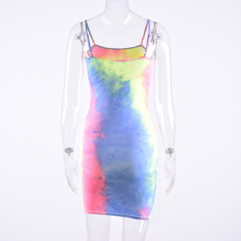 2019 Latest Design Women Summer Fluorescent Camouflage Sling Halter Neck Dress