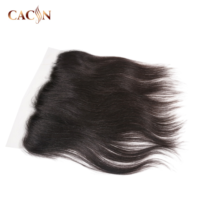 Raw straight indian virgin human hair 13 x 4 swiss lace frontal transparent closure