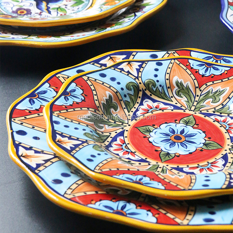 Factory Hot Sale Gold Rim Cutlery Christmas Bohemian Decorative Plate