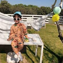 Комплект детской одежды из 2 предметов, хлопковая футболка с длинным рукавом и штаны с принтом динозавра для мальчиков и девочек на весну и о...(Китай)