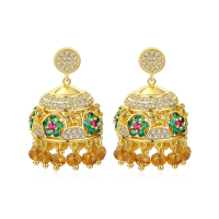 LUOTEEMI Zirconia Tassel New Designs Gold Jhumka Earring New Design Gold Jhumka Earrings