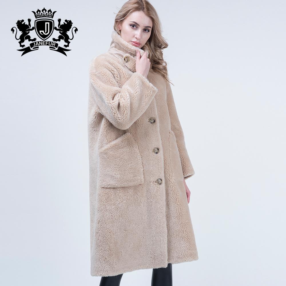 Marke Neue Design Russische Schafe Skins Overknee Mantel Echtpelz Langen Mantel