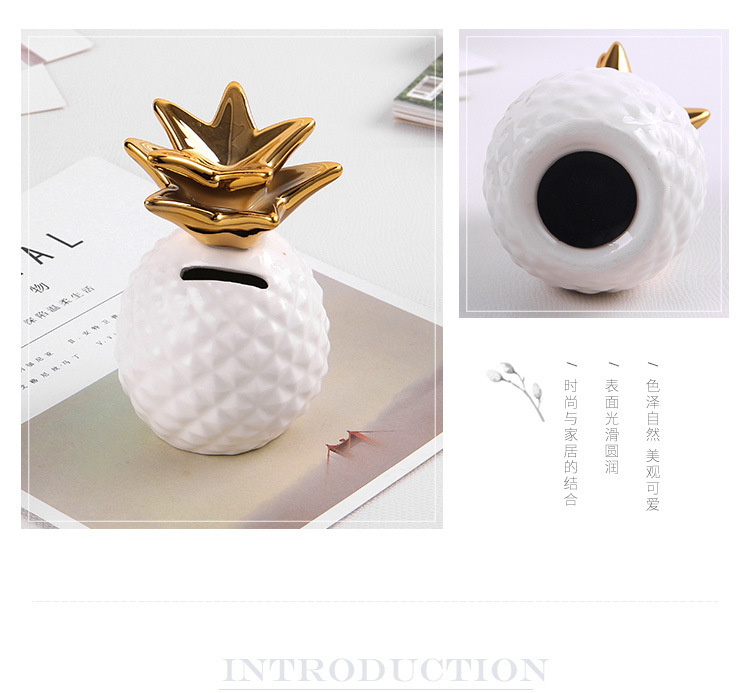 ins Home Decoration  Ceramic Golden Pineapple Piggy Bank